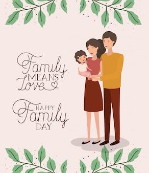 Karta dnia rodzinnego z rodzicami i córką pozostawia koronę