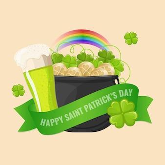 Karta dnia świętego patryka z zielonym piwem, garnek ze złotymi monetami i koniczyną.