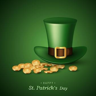 Karta dnia świętego patryka. zielony kapelusz krasnoludka z monetami.