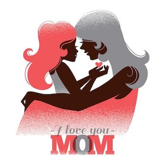 Karta dnia szczęśliwej matki. piękna sylwetka matki z córką w stylu retro
