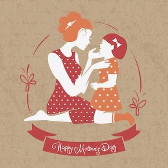 Karta dnia szczęśliwej matki. piękna sylwetka matki z córką