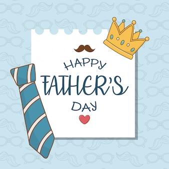 Karta dnia szczęśliwych ojców z krawatem na szyję