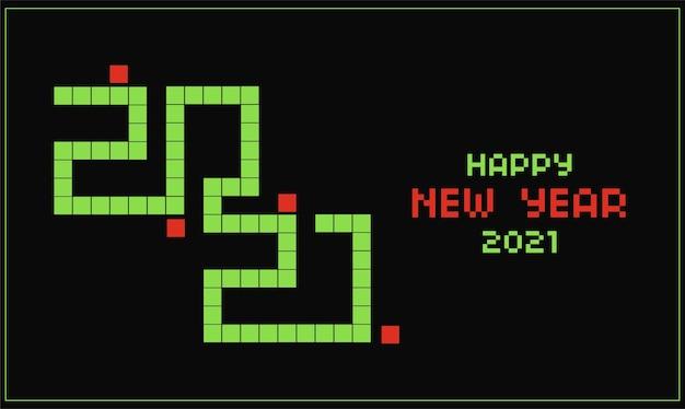 Karta do gry szczęśliwego nowego roku 2021 z motywem gry snake i efektem tekstowym pikseli