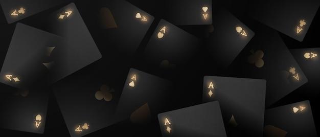 Karta do gry. wygrywające żetony do kasyna w pokera, pływające realistyczne żetony do hazardu, gotówka na ruletkę lub pokera,