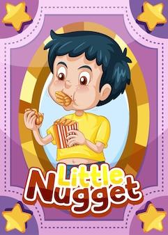 Karta do gry z postacią ze słowem little nugget