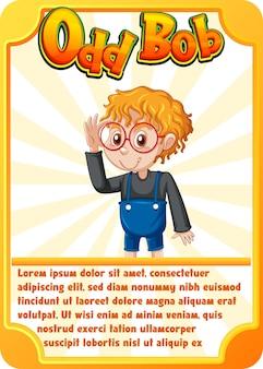 Karta do gry z postacią ze słowem odd-bob