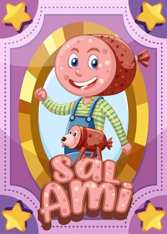 Karta do gry z postacią ze słowem salami