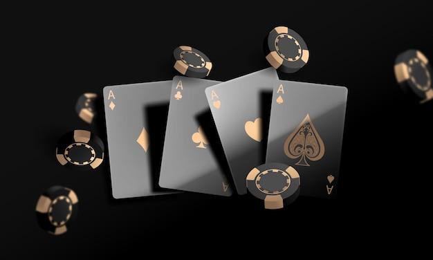 Karta do gry. zwycięskie żetony do kasyna w pokerze lecą