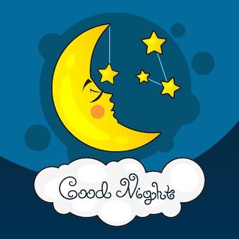 Karta dobrej nocy z księżycem i gwiazdami