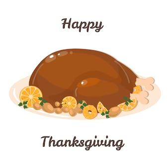 Karta dziękczynienia pieczony indyk na święto dziękczynienia tradycyjne jedzenie indyk dziękczynienia