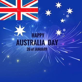 Karta dzień australii z fajerwerkami