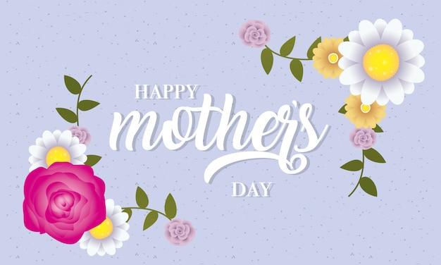 Karta dzień matki happy z dekoracje kwiatowe
