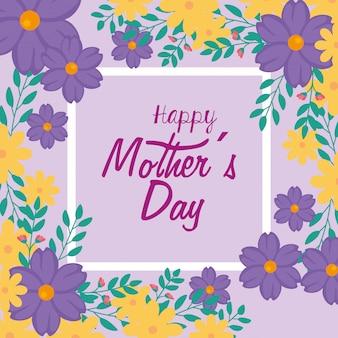 Karta dzień matki happy z ramą ozdoby z kwiatów
