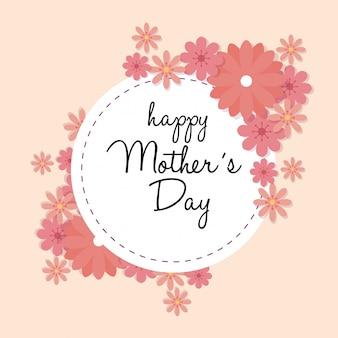 Karta dzień matki happy z ramki okrągłe ozdoby z kwiatów
