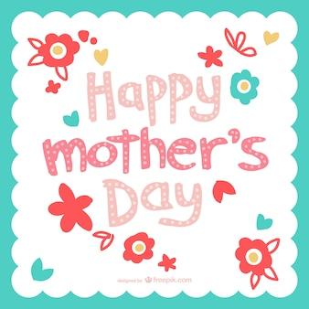 Karta dzień matki kwiaty typografii