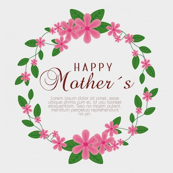 Karta dzień matki z kwiatów roślin i liści dekoracji