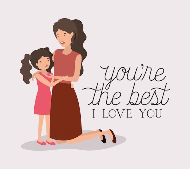 Karta dzień matki z matką i córką liście korony