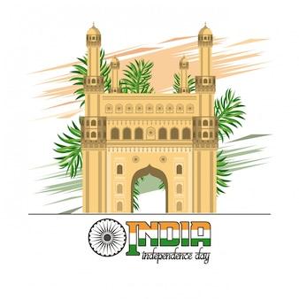 Karta dzień niepodległości indii kolorowy