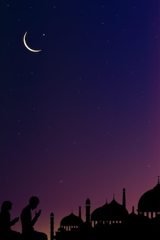 Karta eid mubarak z sylwetką meczeturamadan kareem z modlitwą i meczetem