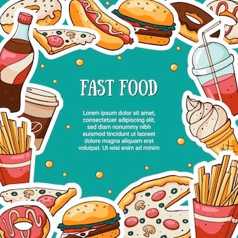 Karta fast food z miejscem na tekst
