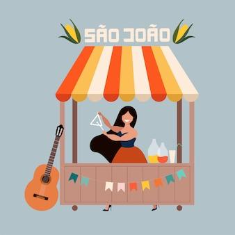 Karta festa junina. kobieta sprzedaje napoje. brazylijskie tradycyjne święto w czerwcu. festa de sao joao. koncepcja portugalskich wakacji letnich. nowoczesne ręcznie rysowane ilustracja do banerów internetowych i drukowania.