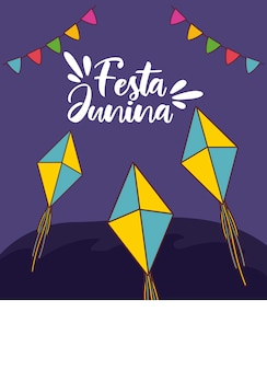 Karta festa junina z wiszącymi latawcami i girlandami