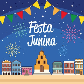 Karta Festa Junina Premium Wektorów