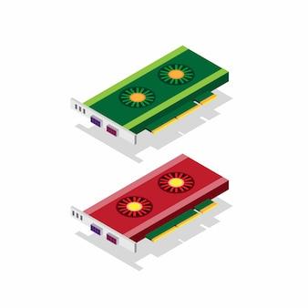 Karta graficzna, wewnętrzne części komputera stacjonarnego, sprzęt do wydajności i gry komputer w kolorze czerwonym i zielonym w izometrycznej płaskiej ilustracji