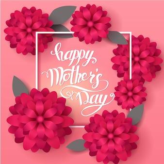 Karta grettingowa na dzień matki. ręcznie wykonany modny napis z wiosennych kwiatów.