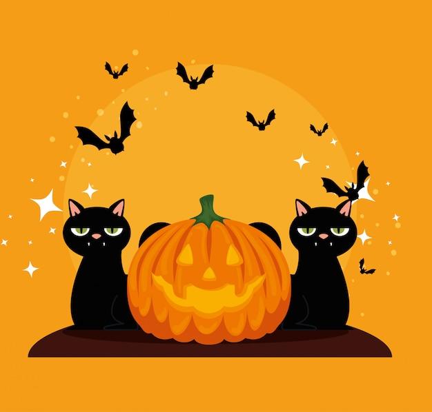 Karta halloween z czarnymi dyniami i kotami
