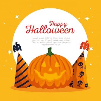 Karta halloween z dyni i czapeczek