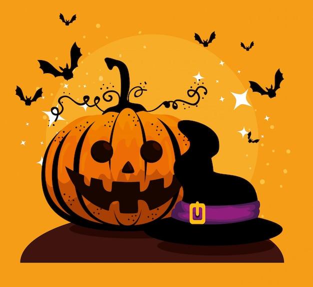 Karta halloween z dyni i kapelusz czarownicy