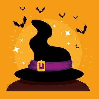 Karta halloween z kapelusz czarownicy