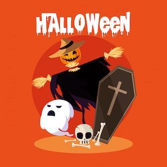 Karta halloween z postacią stracha na wróble