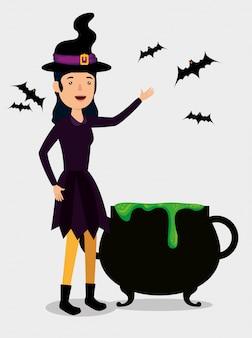 Karta halloween z przebraniem czarownicy i kocioł