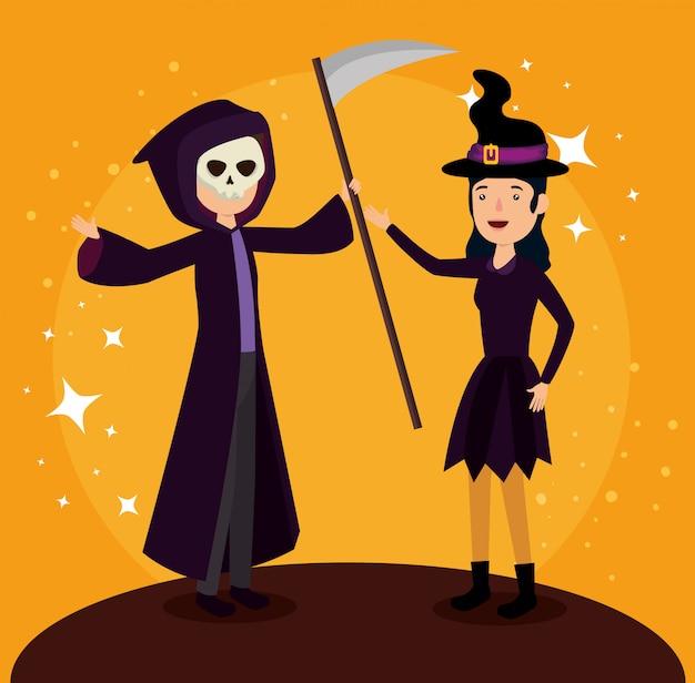 Karta halloween z przebraniem wiedźmy i śmierci