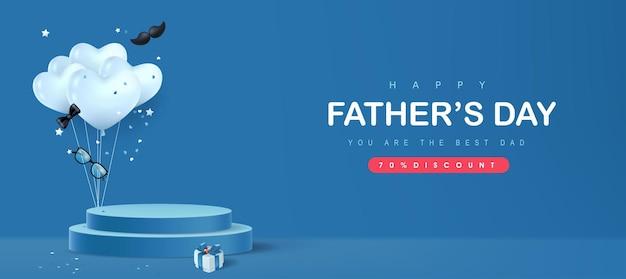 Karta happy father's day z cylindrycznym kształtem wyświetlacza produktu i pudełkiem prezentowym dla taty