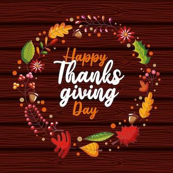 Karta happy thanskgiving day z wieńcem laurowym jesienią