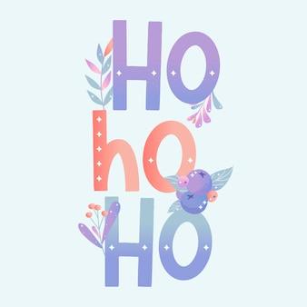 Karta ho ho ho z uroczymi bożonarodzeniowymi roślinami. ilustracja wektorowa.