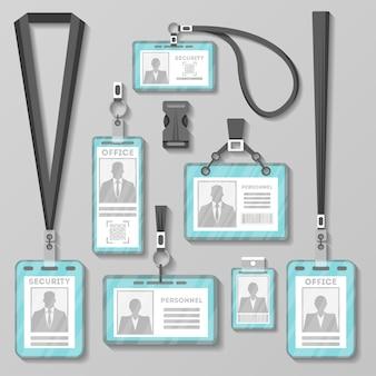 Karta identyfikacyjna lub znaczek z kompletem smyczy