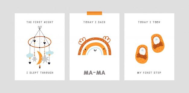 Karta kamienia milowego dziecka. karta rocznica miesiąca dziecka. nadruk baby shower, który uchwyci wszystkie wyjątkowe chwile
