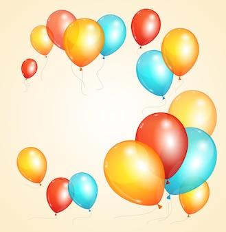 Karta kolorowy balon na urodziny lub imprezę.