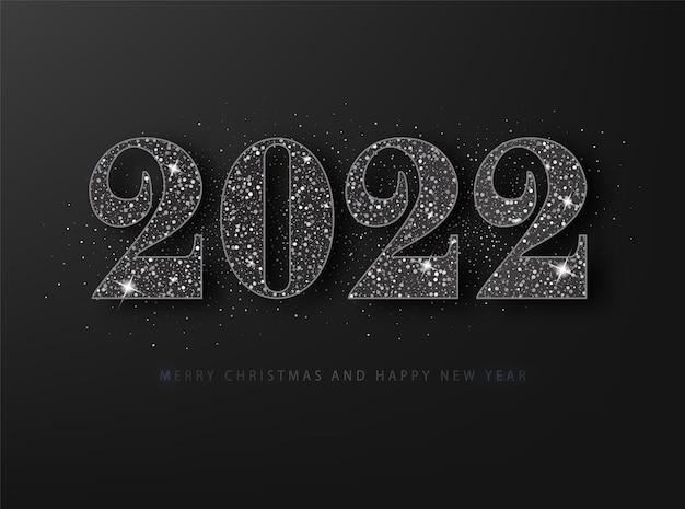 Karta kraty szczęśliwego nowego roku 2022. czarny brokat na czarnym tle.