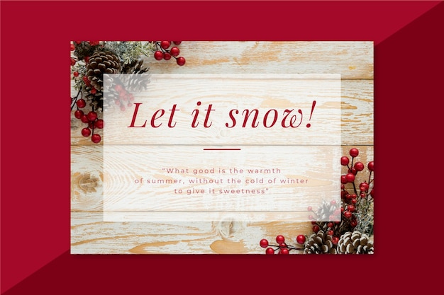 Karta kreatywna zima z dekoracjami