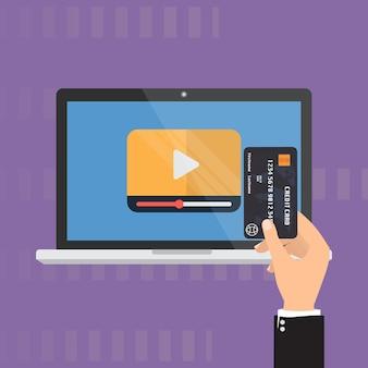 Karta kredytowa do płacenia wideo online na żądanie.