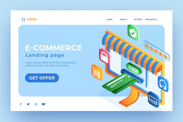 Karta kredytowa strony docelowej izometrycznego e-commerce