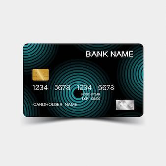 Karta kredytowa. z elementami w kolorze niebieskim. błyszczący plastikowy styl.