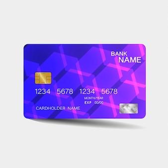 Karta kredytowa. z fioletowymi elementami. inspiracja abstrakcyjna. . błyszczący plastikowy styl.