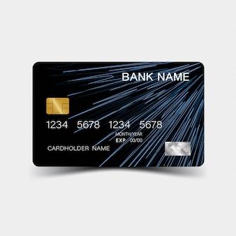 Karta kredytowa. z niebieskimi elementami. i inspiracja abstrakcyjna.