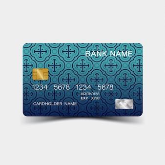 Karta kredytowa. z niebieskimi elementami